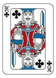 Playing Card King of Clubs Red Blue and Black. A playing card king of Clubs in red, blue and black from a new modern original complete full deck design. Standard royalty free illustration