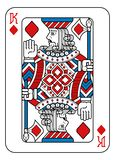 Playing Card King of Diamonds Red Blue and Black. A playing card king of Diamonds in red, blue and black from a new modern original complete full deck design royalty free illustration