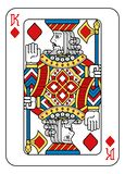 Playing Card King Diamonds Yellow Red Blue Black. A playing card king of Diamonds in yellow, red, blue and black from a new modern original complete full deck stock illustration