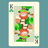 Playing card king green leprechaun St. Patrick day. Playing card king green leprechaun St. Patricks day beer tube smile green Shamrock vector illustration