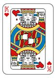Playing Card King of Hearts Yellow Red Blue Black. A playing card king of hearts in yellow, red, blue and black from a new modern original complete full deck stock illustration