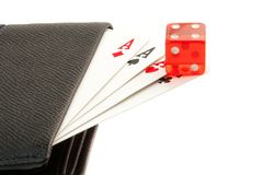 Playing card in the leather wallet Royalty Free Stock Image