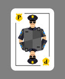 Playing card policeman. Conceptual new card  police officer. Arr Royalty Free Stock Image