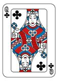 Playing Card Queen of Clubs Red Blue and Black. A playing card Queen of Clubs in red, blue and black from a new modern original complete full deck design vector illustration