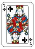 Playing Card Queen of Clubs Yellow Red Blue Black. A playing card Queen of Clubs in yellow, red, blue and black from a new modern original complete full deck stock illustration
