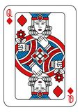 Playing Card Queen of Diamonds Red Blue and Black. A playing card Queen of Diamonds in red, blue and black from a new modern original complete full deck design vector illustration