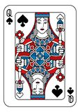 Playing Card Queen of Spades Red Blue and Black. A playing card Queen of Spades in red, blue and black from a new modern original complete full deck design royalty free illustration