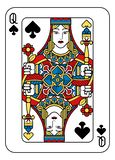 Playing Card Queen of Spades Yellow Red Blue Black. A playing card Queen of Spades in yellow, red, blue and black from a new modern original complete full deck royalty free illustration