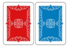 Playing Card Reverse Back in Red and Blue. A playing card Reverse Back in red and blue from a new modern original complete full deck design. Standard poker size royalty free illustration