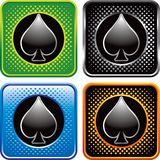 Playing card spade suit on halftone web buttons. Multicolored halftone web icons with spade playing card suit icon Stock Photography