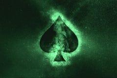 Playing card. Spade symbol. Green symbol. Symbol stock illustration