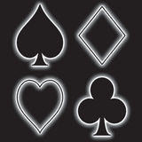 Playing Card Suits. A fully scalable vector illustration of a set of 4 playing suits, including spades, diamonds, hearts, clubs royalty free illustration