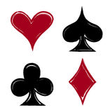 Playing card suits, icon, symbol set hand drawing Stock Photos