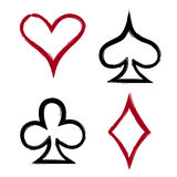 Playing card suits, icon, symbol set hand drawing Stock Image
