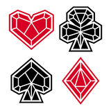 Playing card suits, icon, symbol set. Polygonal style Royalty Free Stock Image