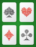 Playing card suits ornamental Stock Images