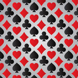 Playing Card suits pattern. On gray background Stock Photography