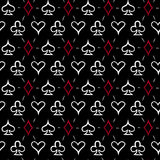Playing card suits, seamless pattern background Royalty Free Stock Photos