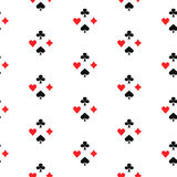 Playing card suits seamless pattern. Royalty Free Stock Images