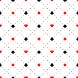 Playing card suits signs seamless pattern background. Black and red color signs with diagonal dots Stock Photos