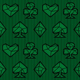 Playing card suits, signs, seamless pattern. Triangle style. Playing card suits, signs, seamless pattern. Green background. Triangle style. Eps10 royalty free illustration