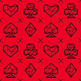 Playing card suits, signs, seamless pattern. Triangle style. Playing card suits, signs, seamless pattern. Red background. Triangle style. Eps10 stock illustration