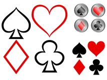 Playing card symbols. Vector showing three variations of playing card symbols - plain, outline and glossy buttons Vector Illustration