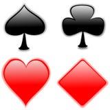 Playing card symbols. Illustration of playing card symbols. Club,heart,diamond,spade Royalty Free Stock Photography