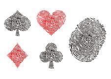 Playing card symbols. As fingerprint Stock Photo