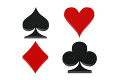 Playing card symbols, card suit. On white background vector illustration