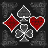 Playing card symbols with shadows. Vector set Royalty Free Stock Photography