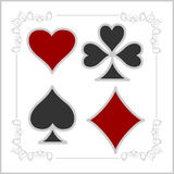 Playing card symbols with shadows. Vector set Royalty Free Stock Photo