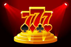 777 and Playing Card Symbols on Stage Podium. Vector illustration for casino, slots, roulette and UI. Icons on separate. 777 and Playing Card Symbols on Stage vector illustration