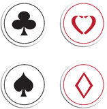 Playing card symbols. Or suits including clubs, hearts, spades and diamonds in round circles on a white background Stock Photos