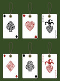 Playing card tags. With aces and jokers Stock Photography