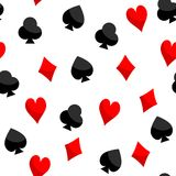 Playing Card Texture Seamless of Hearts Diamonds Clubs Spades. Abstract vector background of playing cards texture for home decoration and clothing. Seamless stock illustration