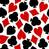 Playing Card Texture Seamless Vector of Hearts Diamonds Clubs Spades. Abstract vector background of playing cards texture for home decoration and clothing stock illustration