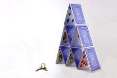 Playing card tower and keys Stock Photography
