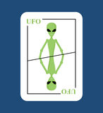 Playing card UFO. Conceptual new card alien. Green space invader Stock Photos