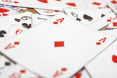 Playing cards. (ace in focus stock image