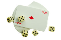 Playing-cards. On a white background are a risk Stock Images