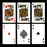 Playing cards. Ace king black background vector illustration