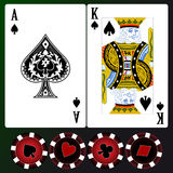 Playing cards. Set of playing cards with chips vector illustration
