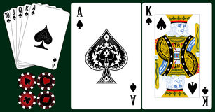 Playing cards. Set of playing cards with chips royalty free illustration