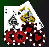 Playing cards. Set of playing cards with chips stock illustration