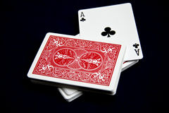 Playing cards. Displays various playing cards on a black background Royalty Free Stock Photo