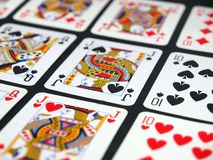 Playing cards. Hearts spades and diamond stock images
