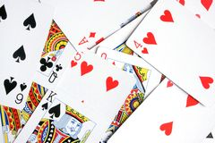 Playing cards. For backgrounds or textures Royalty Free Stock Image