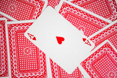 Playing cards. On green cloth Stock Images