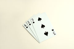 Playing cards. Open playing cards of spade displayed in an order Stock Images